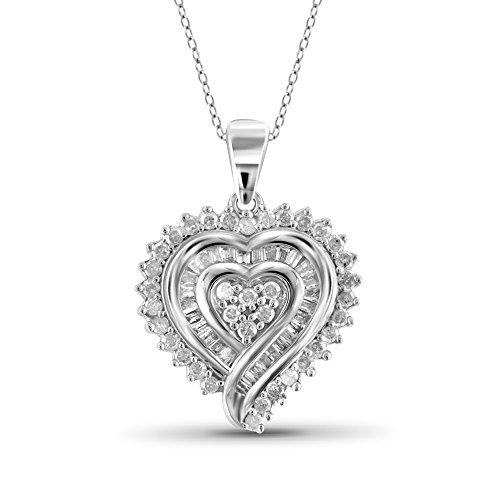 Jewelexcess 1/2 Carat T.W. White Diamond Sterling Silver Heart Pendant ()