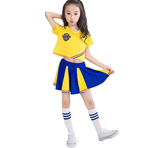 Girls School Cheerleader Cheerleading Costume Uniform Carnival Party Halloween Costume Dress Mini Skirt with 2 Pompoms Yellow -