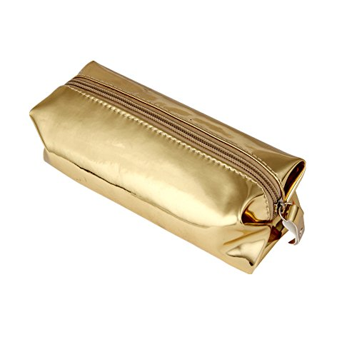 Makalon Simple Fashion Hologram Pencil Case Pen Holder Makeup Boxes Zipper Comestic Storage Bag (Gold)