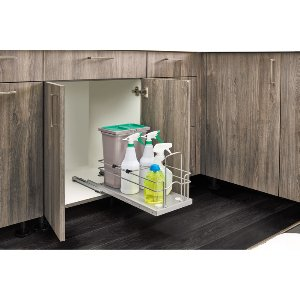 Bottom Mount Trash Pull-Out w/Soft-Close, Single Trash Pull-Out for Under Sinks