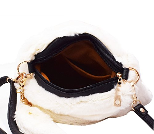 Handbag Rabbit White Party Fur Cross Shoulder body Winter Pure Evening Satchel for Caszel Cocktail Faux Clutch Bag Beige Handle Bag Color Tote Women's Hobo Top IqCnwngPW