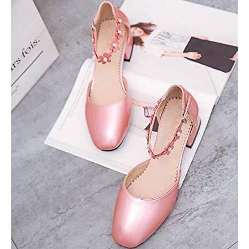 Negro Mujer de PU Gold ZHZNVX Tacones Grueso Plata Poliuretano Zapatos Rosa de Verano Confort Tacón S4RnwaPq