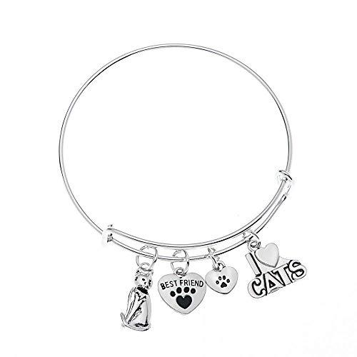 (Cat Bracelet, Cat Jewelry, Kitty Cat Charm Bracelet, Paw Bracelet- Pet Jewelry- Cat Lover Gifts)