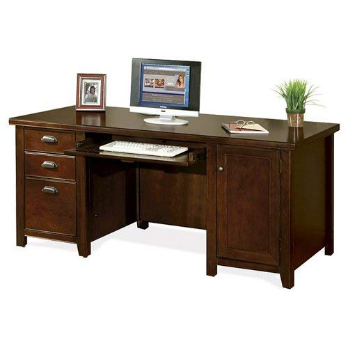 kathy ireland Home by Martin Tribeca Loft Cherry Double Pedestal Computer Desk - Fully Assembled