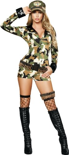[Roma Costume 3 Piece Sexy Soldier Costume, Camouflage, Small/Medium] (Military Pin Up Costumes)