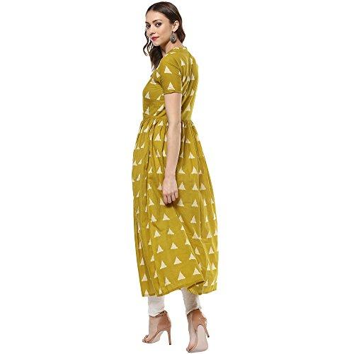 Indian Virasat Women's Printed Long Front Slit Kurta Small Mustard Tunic Kurti by Indian Virasat (Image #1)