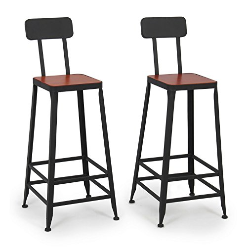 Set of 2 Rustic Vintage Style Bar Stools Industrial Wood Seat Design Contemporary Counter Top Seat #876 (Target Chairs Pool Lounge)