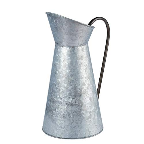 Galvanized Vase - Silver Metal Vase Pitcher with Handle, Vintage Jug Watering Can, Farmhouse Style Decor for Home, Garden, 12 Inches Tall ()