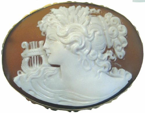 Brooch, Pendant Master Carved, Italian Goddess of Music Calliope, Cameo, 18k Yellow Gold