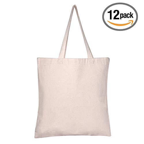 8538f1cb7646 BagzDepot 12 Pack Durable Cotton Canvas Reusable Blank 15inch x 16inch  Standard Size Grocery Plain Tote Bags with 21 inches Supportive Fabric  Handles No ...