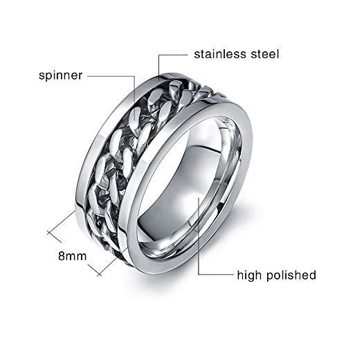 MMTTAO Mens Spinner Fidget Rings Chain Rotation Ring for Men 8MM Stainless Steel Intertwine Rings Motorcycle Biker Bicycle Chain Ring Punk Rock Bands Male Boys Jewelry Gifts for His US Size 6-15