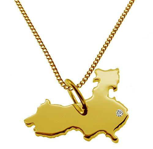 Endroit Exclusif Carte Pays De La Chine Pendentif avec brillant à votre Désir (Position au choix.)-avec Chaîne-massif Or jaune de 585or, artisanat Allemande-585de bijoux
