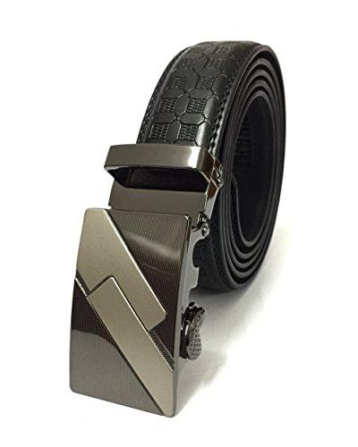Men Belt, Automatic Alloy Ratchet Buckle Black Leather Duty Dress Golf Gun Belt 1-1/8