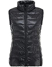 Women's Autumn Duck Down Warm Vest Sleeveless Stand Collar Portable Quilted Vests Winter Solid Casual Jacket