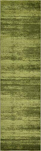 Unique Loom Del Mar Collection Contemporary Transitional Green Runner Rug (2' 7 x 10' 0) - Olive Green Runner Rug