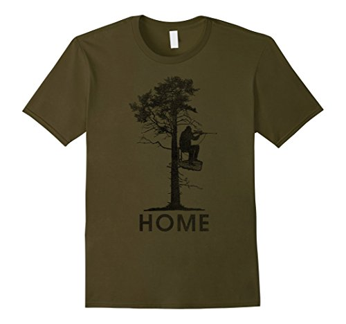 - Mens Home Is In A Treestand Hunter Vintage Graphic T-Shirt Medium Olive