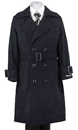 Amazon.com: Boys' Warm Winter Wool Dress Coat Double Breasted W ...