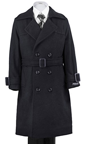 (Armando Martillo Boys' Navy Warm Winter Long Formal Dress Wool Double Breasted Coat Hood & Belt Great Holidays, Parties, All Formal Events 14)
