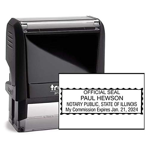 Illinois Rectangle Notary Stamp -IL Official Notary Stamp - Enter Custom Text