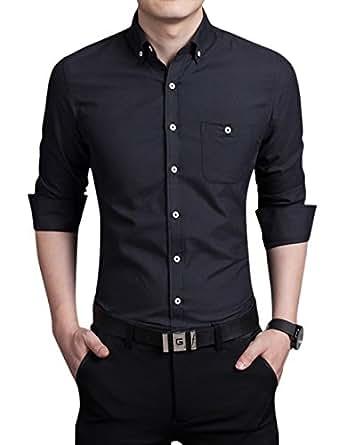 Chouyatou Men's Basic Collared Long Sleeve Dress Shirt One-Pocket (X-Small, Black)