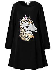 Girls Flip Sequin Cotton Long Sleeve Dress