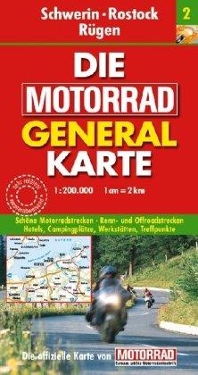 Motorrad Generalkarte Deutschland Schwerin, Rostock, Rügen 1:200 000
