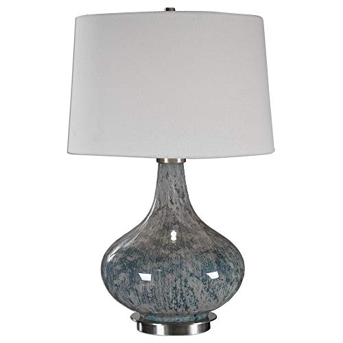Uttermost 27076 Celinda - One Light Table Lamp, Light Blue Gray/Brushed Brass Finish with Ivory Linen Fabric Shade David Contemporary Table Lamp