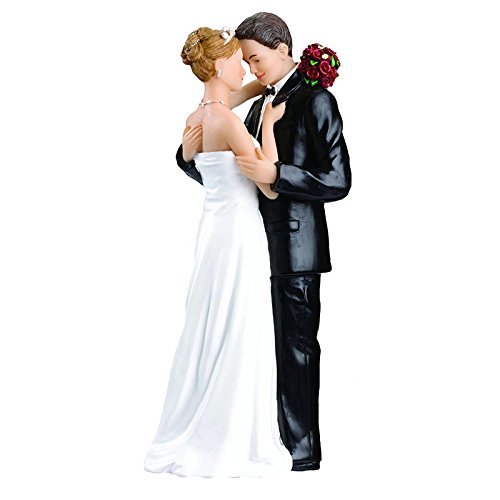 Romantic bride and groom tender moment wedding couple figurine cake topper, hugging
