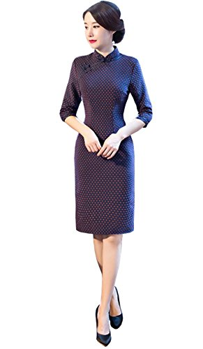 Angcoco Women's Half Sleeve Wool Cheongsam Mini Dress China Qipao by Angcoco Womens Chinese Traditional Apparel