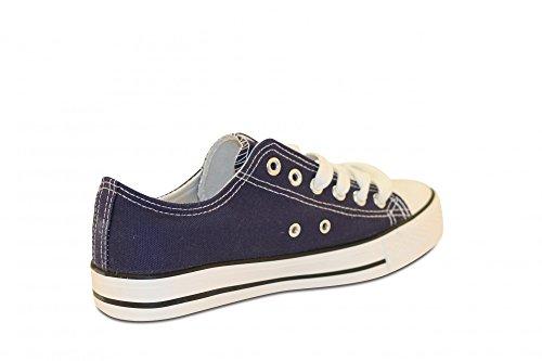 Mixmatch24 Damen Canvas Leinwand Sneaker Basic Low in verschiedenen Farben - Zapatos de cordones de lona para mujer azul oscuro