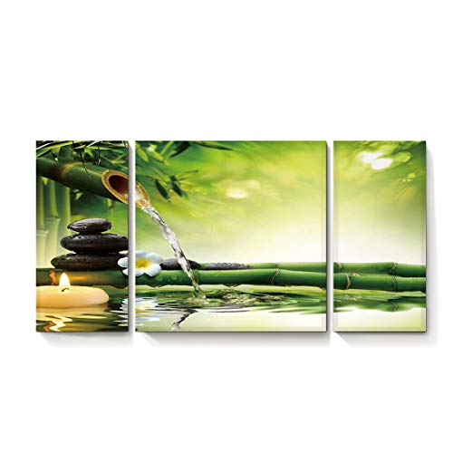 3 Piece Canvas Wall Art, Modern Giclee Print Stretched and Framed Gallery Wrapped Painting for Living Room/Bedroom/Bathroom, Bamboo Forest Water Stone Candle, 14x28in+28x28in+14x28in -