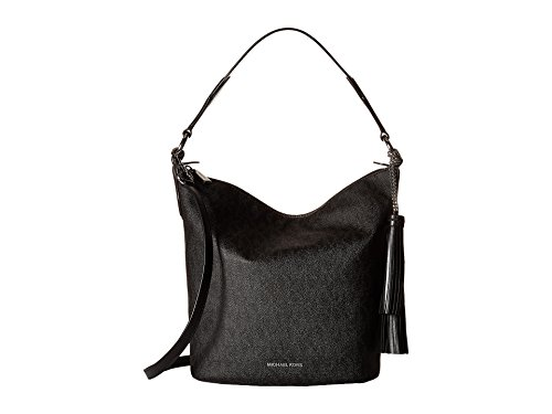 MICHAEL Michael Kors Women's Elana Large Convertible Shoulder Black Handbag (Michael Bag Kors Warranty)