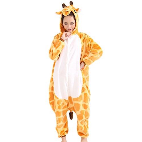Afoxsos Women's Soft Fleece Animal Cartoon Onesie Adult Pajamas Size M Giraffe (Giraffe Soft Costume)