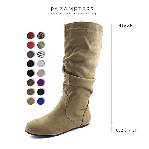 12 On Calf Knee Faux Slouch Boots Heel Toe B Fashion High US M Beige Mid Flat Round Suede Comfortable Slip Shoes DailyShoes fUqB0B