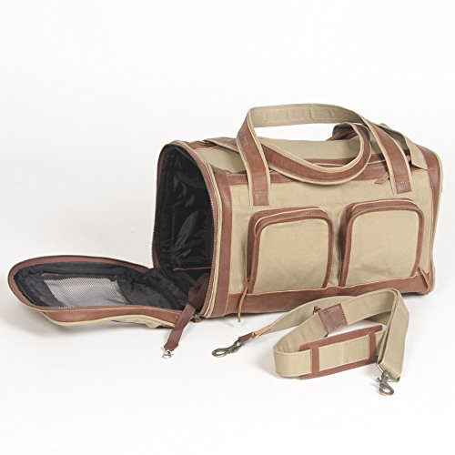 Pet Deluxe Travel Carrier – Tough Khaki Canvas with Genuine Leather Accents