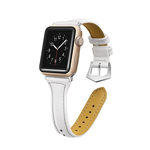 Censha Compatible Apple Watch Band 42mm 38mm, Women Leather Slim Replacement Apple Watch Strap Sports Wristband for iWatch Series 3/2/1 (White 38mm)