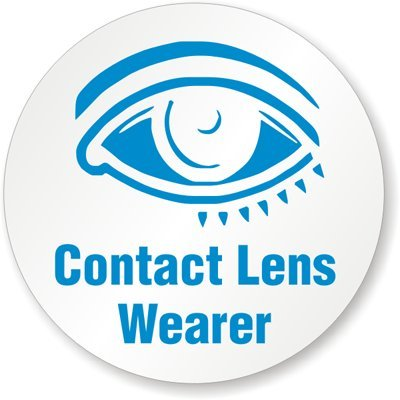 Contact Lens Wearer, HatHuggers™ Conformable Vinyl Labels - Spot Colors, 5 Decals / Pack, 2
