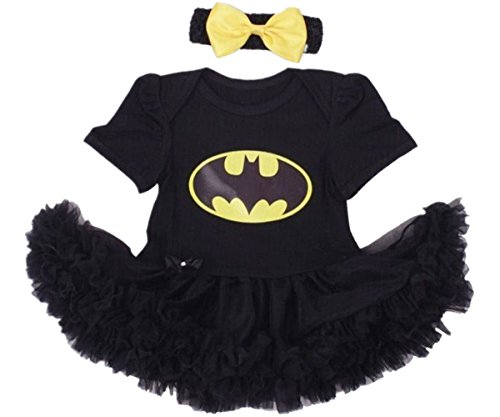 [Dearound Baby Infant Girls Cotton Tutu Dresses with Headband Halloween Costume Batman 3-6 Months] (Batman Costumes Infant)