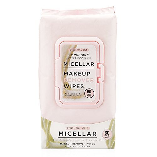 Oil Towelettes - Essential Oils Micellar Makeup Remover Facial Wipes, Detoxifying + Moisturizing Face Towelettes, for Women, Gentle Makeup Removing Facial Cleansing Cloths, (Pack of 60 Wipes)
