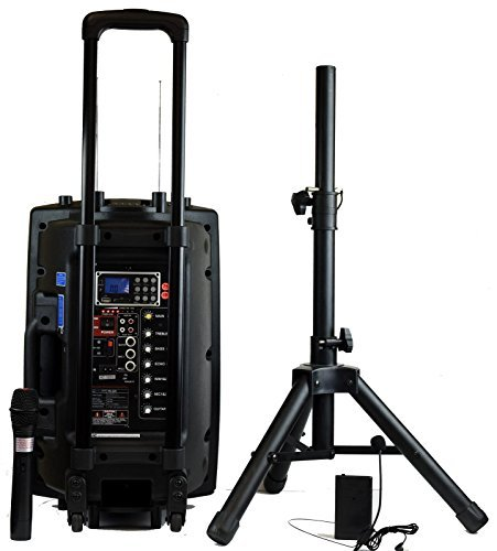 Rechargeable Pa System - Hisonic HS420 Rechargeable Portable PA System with Dual Wireless Microphones with MP3 Player/Recorder, Bluetooth Connection and Tripod Included