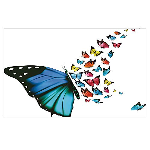 iPrint 3D Floor/Wall Sticker Removable,Butterfly,Creative Conceptual Artwork Monarch Wings Colorful Realistic Natural Wildlife,Multicolor,for Living Room Bathroom Decoration,35.4x23.6