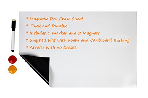 Magnetic Dry Erase Board for Shopping Lists, Notes, To-Do Lists, and Reminders - 17x11 Inch Message Board with 1 Markers and 2 Magnets. Perfect for Kitchens, Classrooms, Offices