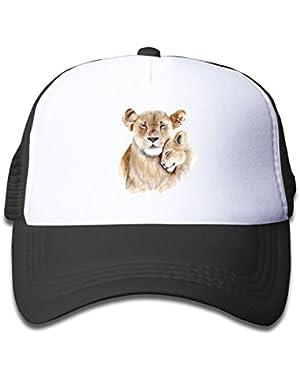 Lion Mom and Baby Adjustable Mesh Baseball Cap Kid's Trucker Hats Boy and Girl