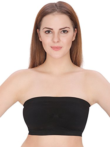 6359af5af3516 Diamond Doll Women s Plain Stretch Strapless Layer short Tube Top Black Bra-2C   Amazon.in  Clothing   Accessories