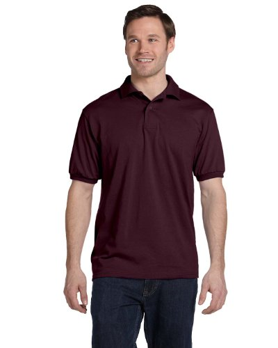 Stedman by Hanes 5.5 oz 50/50 Jersey Knit Polo in Maroon - (50 Blended Jersey Polo)