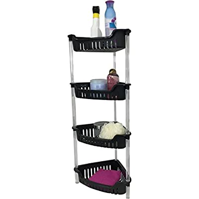 Corner Bathroom, Kitchen & Garage 4 Tier Basket Storage Shelving Unit By Above Edge - Durable, Water Resistant, Rust Proof Material - Ideal For Towels, Toilet Paper, Tissues, Shampoo Bottles