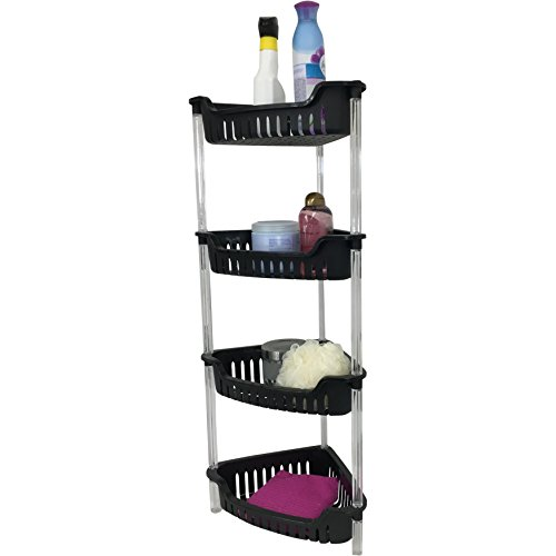 Corner Bathroom, Kitchen & Garage 4 Tier Basket Storage Shelving Unit By Above Edge - Durable, Water Resistant, Rust Proof Material - Ideal For Towels, Toilet Paper, Tissues, Shampoo - Shelving Edge