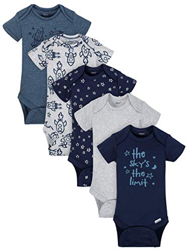 Gerber Baby-Boys 5 Pack Variety Onsies, Organic Sky's The Limit, 3-9 Months