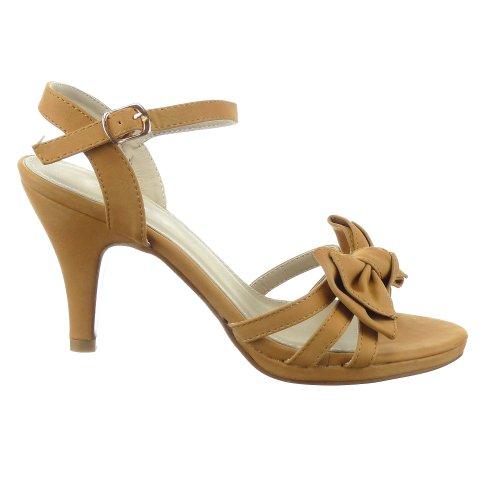 Sopily - Zapatillas de Moda Tacón escarpín Sandalias Stiletto Tobillo mujer nodo Talón Tacón embudo alto 9.5 CM - Camel