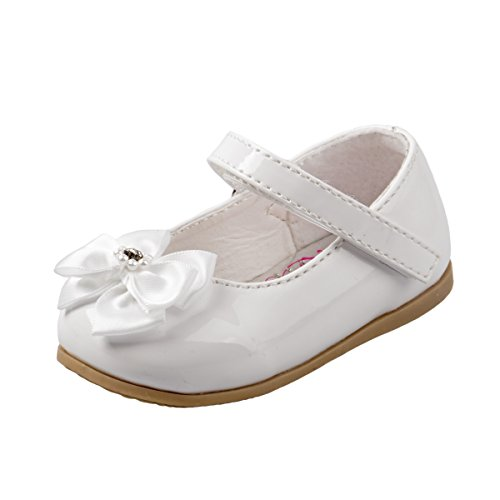 Infant White Leather Footwear - Josmo Infant Girls Patent Dressy Shoe Bow, White, Size 3'